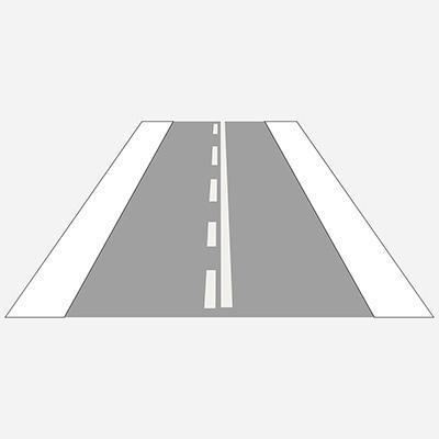 Pozdĺžna súvislá čiara doplnená prerušovanou čiarou
