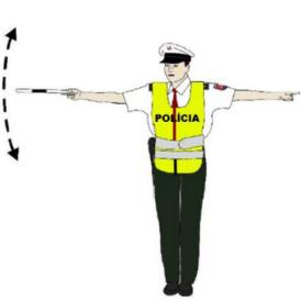 Spomaliť jazdu pokyn policajta